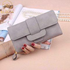 Women Wallets Fashion Long PU Leather Wallet Women Bags grey one size