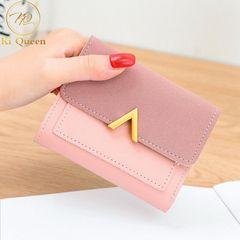 Women Wallets Fashion Short PU Leather Wallet Women Bags pink one size