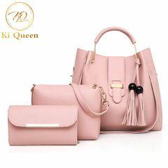 3Pcs/Set Women Handbags Ladies Shoulder Bags Crossbody Bag Clutch Bag pink one size