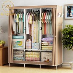 DIY Wardrobe Large Capacity Wardrobe  Assemble Closets Portable Home Storage Big Size brown