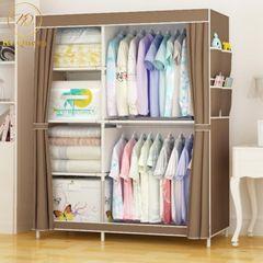 DIY Wardrobe Large Capacity Wardrobe  Assemble Closets Portable Home Storage Big Size 67*41 Inch brown