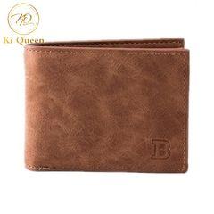 Men Short Paragraph Wallet Business Casual Leather PU Wallet Men Fashion Bag brown one size