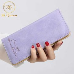 Women Wallets Fashion Long PU Leather Wallet Women Bags purple one size