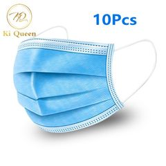 10Pcs/Set Mask Free Breath 3Layers Face Masks Health Care blue