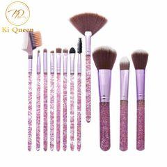 12Pcs/Set Makeup Brushes Blush Brush/Eye Shadow Brush/Lip Brush/Eyebrow Brush Makeup Tools Beauty pink
