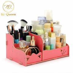 Makeup Storage Box Organizer Makeup Box Beauty Wooden DIY Cosmetic Boxes red