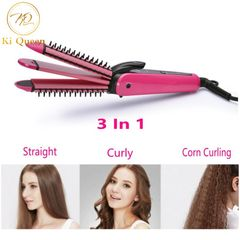 3 in 1 Hair Straightener Curling Irons Corn Curling Straightening Irons Hair Styling Tools Beauty red one size