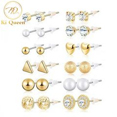 12 Pairs Women Earrings Jewellery Fashion Accessories Jewelry gold&white one size