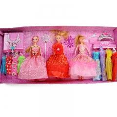 Girls fashion birthday gift Barbie luxury set with peach heart necklace random one size