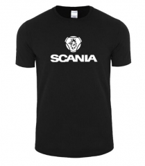 New Fashion Summer Short Sleeve personality Printed Saab SCANIA T shirt Male Cotton casual black+white s