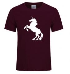 Summer Fashion Style Horse Pattern Print Men T Shirts Cotton O Neck Short Sleeves Mens black+red m