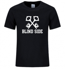 2017 Fashion Discourse Blind Side Printed T Shirt Funny O-Neck Short Sleeved Cotton Tops black+white s