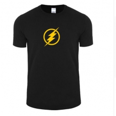 2017 Fashion New Lightning Print Men's Short Sleeve black+yellow s