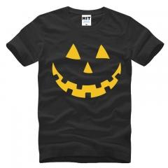 New Pattern Men's Short Sleeve Pity Halloween LANTERN PUMPKIN Halloween Expression Funny T shirt black+yellow s