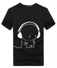 Mens new Fashion short sleeve shirt brand T-Shirts mens round neck tops black+white s