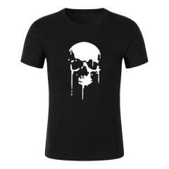 Interesting Oversize beatles Printing Press Dressing Style Logos Design Making Skull head T shirt black+white s