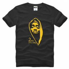 Thug Life Tupac 2PAC Hip Hop Rock Rap Mens Men New Short Sleeve Cotton Casual T shirt black+yellow s