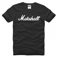 New Fashion Marshall Letter Printed Mens Fashion For Casual Short Sleeve O Neck Cotton T shirt black+white s