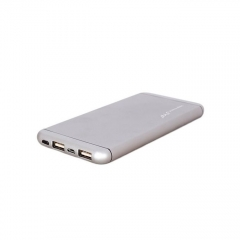 Power Bank 10,000 mAh Super Slim Design With Polymer Battery - Silver silver 10000