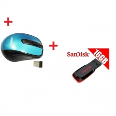 Dell Dell Wireless Mouse - Blue + 16GB SanDisk Flash Disk BLUE 16GB