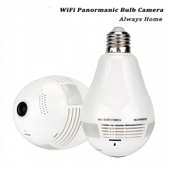 Nanny Camera , Panoramic 1080P 360 Degree Night Vision , Wifi Light Bulb Camera white 22*22*8