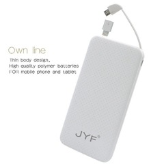 JYF-C1, 12000mAh, cable-in power bank, portable charging iPhone,Samsung-White white 12000