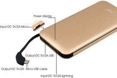 JYF-C2, -20000Mah Cable-in Power Bank, portable Sim Powerbank gold 20000