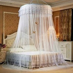 Round mosquito net white and blue normal