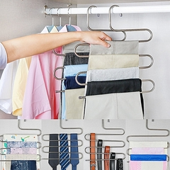 S Type Clothes Pants Trouser Hanger Multi Layers Storage Rack Closet Space Saver Stainless Steel silver