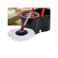 360° Floor Magic Spin Mop Bucket Set Microfiber Rotating Dry Heads . black normal