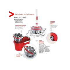 360° Floor Magic Spin Mop Bucket Set Microfiber Rotating Dry Heads . red normal