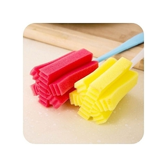 Glass cleaning brush long handle cup bottle tea wash sponge kitchen red and yellow normal