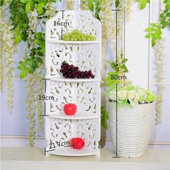 4Tiers Rack Stand Storage Organiser Unit Hollow Carved Shelf Bathroom white