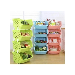 4 Tier Kitchen Fruit Vegetable Storage Basket Rack with Handle multicolor