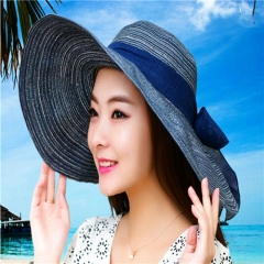 Summer Hats for Women Fashion Design Women Beach Sun Hat with Foldable Brimmed Black