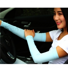 Fashion Ice Silk Outdoor Sunblock Sleeves Summer Sunscreen Over Sleeve Protective Sleeve Blue One size