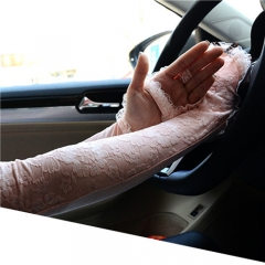 Summer Driving Gloves Electric Car Sunscreen Lace Gloves Ice Silk Half Finger Cuff UV Sunscreen Pink 60cm