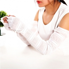 Summer Driving Gloves Electric Car Sunscreen Lace Gloves Ice Silk Half Finger Cuff UV Sunscreen White 60cm