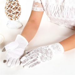 Summer Women Vintage Sunscreen Sexy Lace Gloves Lady Anti-uv Gloves Female Driving Outdoor Gloves White One size