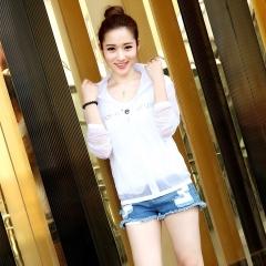 Long Sleeve Cardigan Beach Sun-protective Clothing Lovers'  Hooded UV Protection Ultra-thin White-XXXL