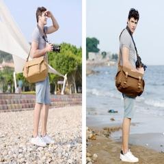 SLR Single Shoulder Camera Bag Canvas Waterproof Camera Bag Shockproof  Leisure Travel Bag Khaki