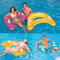 Water Bed Seated Children Swim Ring Float Inflatable Chair Seat Horse Lay Line of Drifting Boat Yellow 14.8*9.5cm