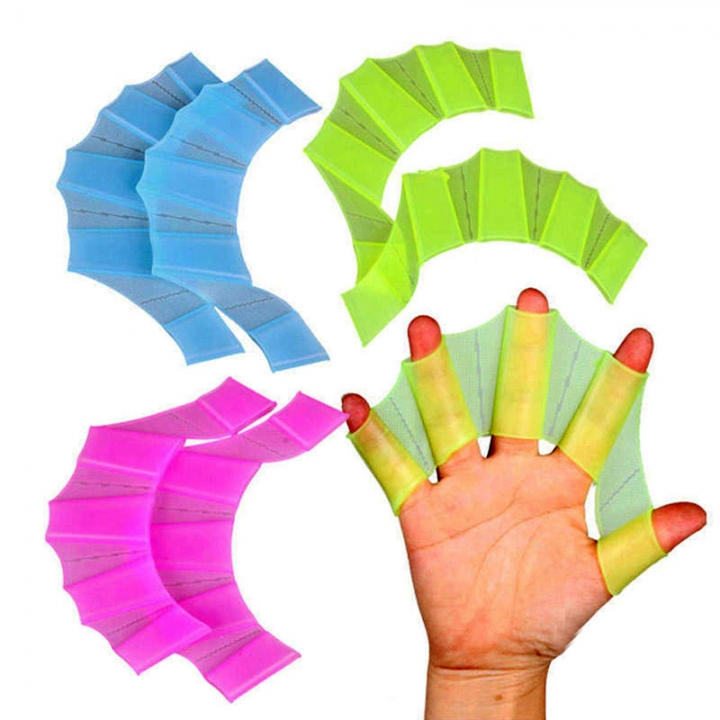 Webbed Gloves Flippers Silicone Material Palm Swimming Fins for Hands_sailor Diving Webbed Green-L S-M-L