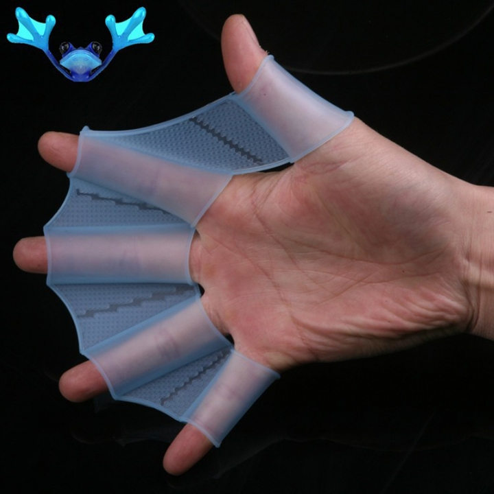 Webbed Gloves Flippers Silicone Material Palm Swimming Fins for Hands_sailor Diving Webbed Blue-S S-M-L