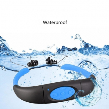 Waterproof Sports FM Radio MP3 Music Player Stereo Audio Underwater Music Player Neckband Swimming Blue 5.5*3.3cm