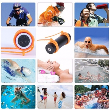 Swimming Diving Waterproof MP3 Player Sports MP3 Player Support FM Headphone USB Charging Black 5.5*3.3cm