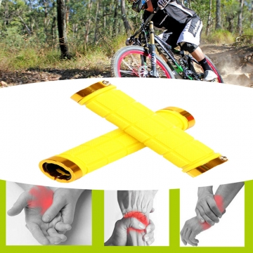 1Pair Cycling Handlebar Mountain Bike Bicycle Car-covers Rubber Anti-slip Handle Grips Yellow
