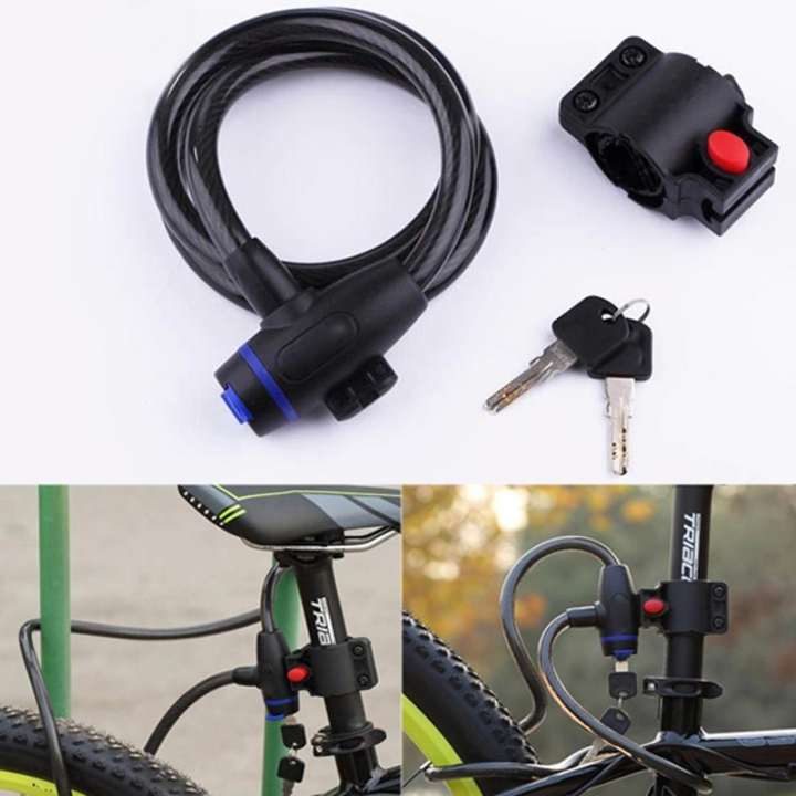 Anti-Theft Bike Bicycle Lock Stainless Steel Cable Coil  for Castle Motorcycle Cycle Bike Lock As Picture