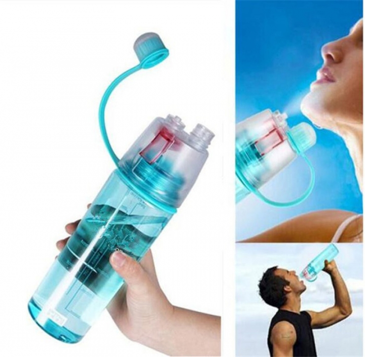 Creative Spray Sport Water Bottle Cycling Fruit Juice Bicycle Portable Kettle Shaker Water Bottle Blue-400 400ML/600ML