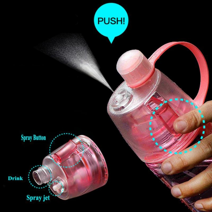 Creative Spray Sport Water Bottle Cycling Fruit Juice Bicycle Portable Kettle Shaker Water Bottle Pink-600 400ML/600ML